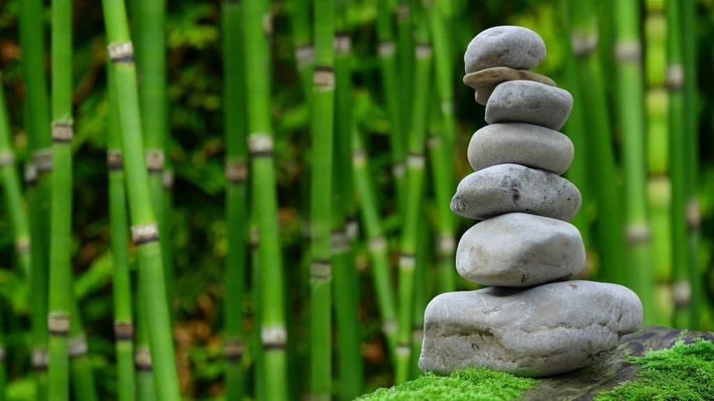 bambous verts et pierres empilées zen